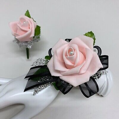 Pink Rose on Black with Silver Trim Wrist Corsage & Boutonniere Combo