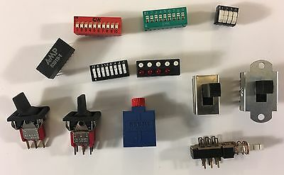 Slide, Pushbutton, Toggle, and Micro Switches Hobbyist Tinkerer Mixed Lot of 12