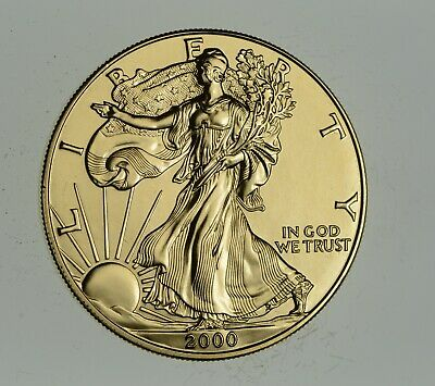 2000 24 Kt Gold Plated American Silver Eagle - Beautiful Coin! 1 Oz .999 *883