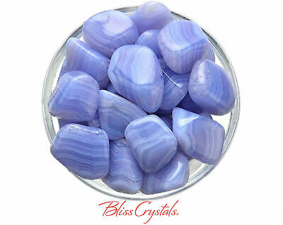 1 Blue Lace Agate Tumbled Stone (3 Sizes - L, XL, Jumbo) for Peace of Mind #BL03