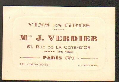 PARIS V Arrt COMMERCE De VINS J VERDIER Carte