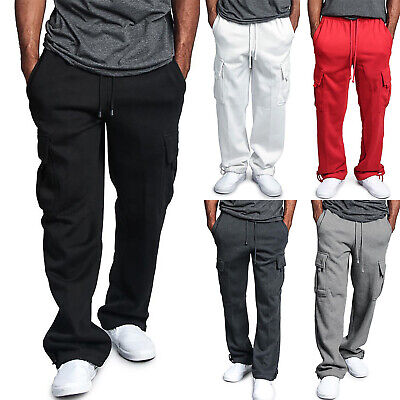 Mens Elasticated Waist Cargo Combat Pants Sport Casual Work Straight Trousers AU