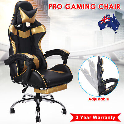 Gold Computer Gaming Chair Office Racing Seat Footrest PU Leather Executive Seat