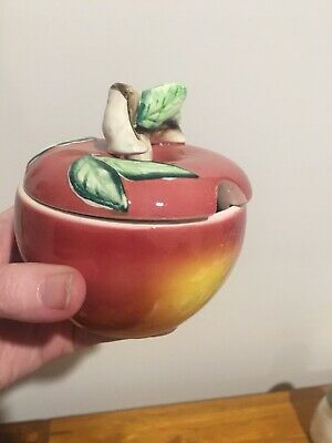 Vintage Retro 50s/60s CERAMIC APPLE SUGAR BOWL/POT Porcelain KITSCH Made Japan