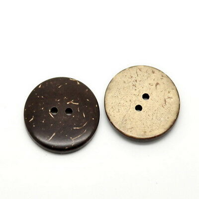 """25PCs Brown Coconut Shell 2 Holes Sewing Buttons Scrapbooking 25mm(1"""")Dia."""