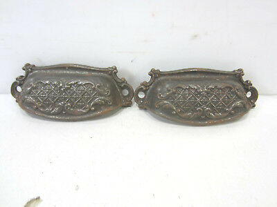 2 Vintage Cast Iron French Style Bin Pulls #655