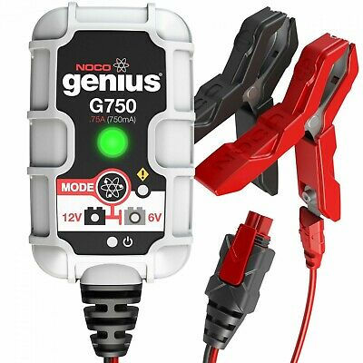 G750UK NOCO 0.75A Smart Battery Charger 6V/12V Motorcycles Lawnmowers Cars Boats