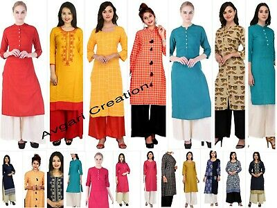 Kurti Women Indian Casual Long Tunic Printed Straight Crepe Kurta & Palazzo