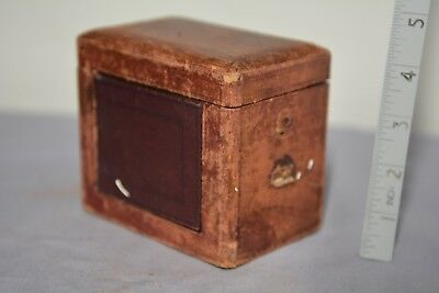 Antique, VICTORIAN CARRIAGE CLOCK SMALL travel case - Tooled leather. H 10cm