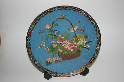 Antique Chinese Japanese Bronze Cloisonne Carved Painted Large Plate
