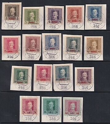 Romania Used Stamps on Fragment Cover Sc#1N1-1N17 CV$27