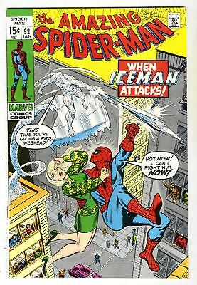 The Amazing Spider-Man #92 vs. the ICEMAN from Jan. 1971 in VF condition