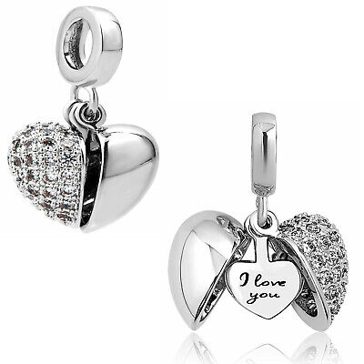 New Authentic Pandora Charms Bracelet I Love You Sterling Silver Women's Gift US