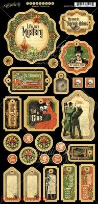 Graphic 45 Master Detective Chipboard New! Halloween