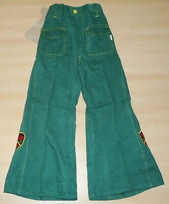 VINTAGE 1970's UNWORN NAYYTEX GREEN & YELLOW FLARED APPLIQUE JEANS AGE 6-7 YEARS
