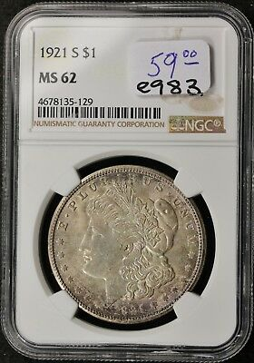 1921-s Morgan Silver Dollar.  In NGC Holder.  MS 62.   e983