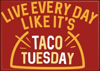 Live Everyday Like It's Taco Tuesday Refrigerator Magnet, NEW UNUSED