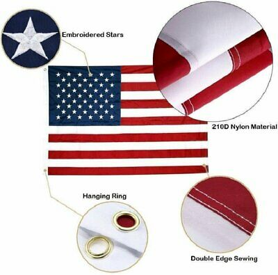 3X5 American Flag US USA  EMBROIDERED Stars, Sewn Stripes  3'x5' ft 128 New