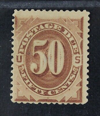 CKStamps: US Postage Due Stamps Collection Scott#J7 50c Mint H OG Thin Crease