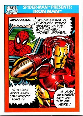1990 Impel Marvel Universe Series I Card #159 Spider-Man Presents Iron Man