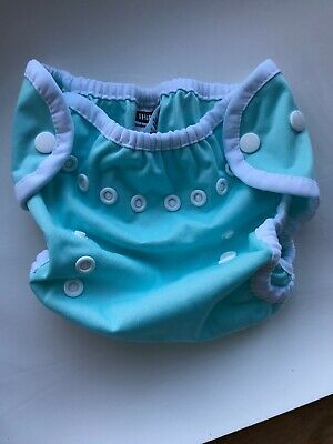 Thirsties Duo diaper cover - Size One 1 - Snaps Blue 0-9 Months 6-18 Lbs