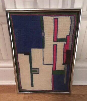 Vintage Retro Modernist Glass Framed Completed Needlepoint Abstract Geometric