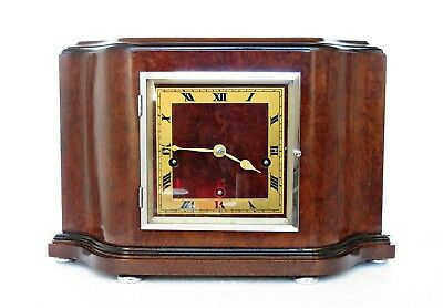 Fine Quality Art Deco Westminster Chimes Mantel Clock Serviced, Burr Walnut Case