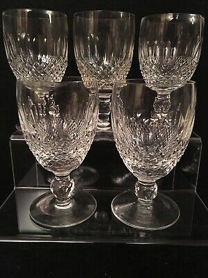 "5 Pretty Waterford Crystal ""Colleen Short Stem"" Claret Wine Glasses,  All Signed"