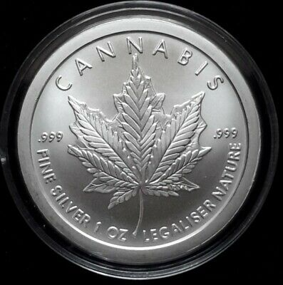 2018 Silver Shield 1 oz. Silver CANNABIS BU  Round in FREE Capsule! SHIPPING NOW