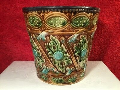 Planter Antique French Majolica Cache Pot Planter by Onnaing c1800s, fm1232