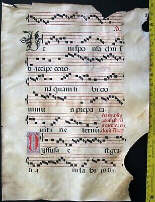 Fragment of a Music Manuscript,Antiphonary Lf, on Vellum,handptd.Initials,c.1500