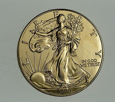 2000 24 Kt Gold Plated American Silver Eagle - Beautiful Coin! 1 Oz .999 *903