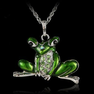 Fashion Women Crystal Charm Frog Animal Pendant Necklace Long Sweater Chain Gift