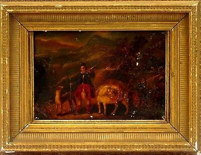 "Fine European ""Old Master"" 17th/18th c. Oil Painting Scottish Highlander w/Dog"