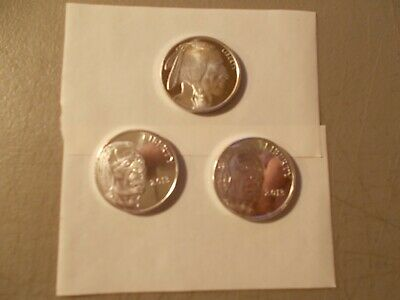 Lot Of 3 Indian Head / Buffalo 1 Ounce Silver Rounds 2 Dated 2013 United States