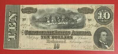 1864 $10 US Confederate States of America! Choice Crisp XF! Old US Currency