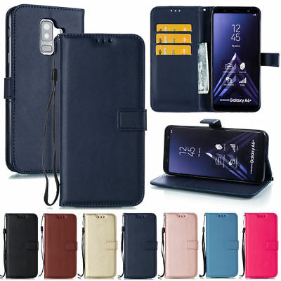 For Samsung A6 A7 A8 Plus 2018 A3 A5 Flip Card Wallet Leather Case Stand Cover