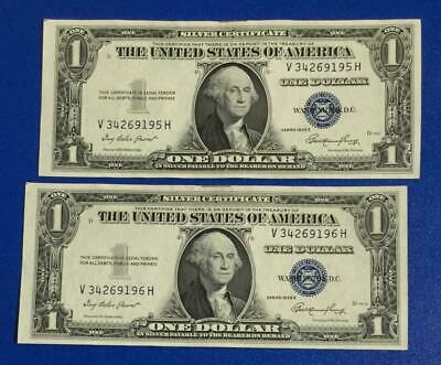 1935E $1 Blue Choice Crisp AU Consecutives x195 Set of 2! Old US Paper Currency