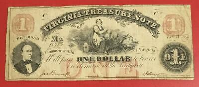 """1862 $1 RED Virginia """"US TREASURY NOTE"""" LARGE SIZE Currency! VG! Old US!"""
