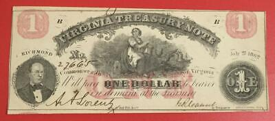 """1862 $1 RED Virginia """"US TREASURY NOTE"""" LARGE SIZE Currency! Choice Crisp AU!"""
