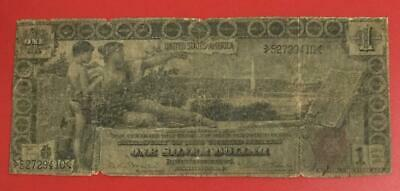 1896 $1 US Educational LARGE SIZE SILVER Certificate Paper MOney Rough Currency