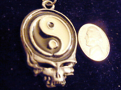 bling pewter MYTH yin yang skull PAGAN pendant charm FASHION necklace JEWELRY MJ