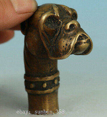 Chinese Old Hand Carved Dog Statue Walking Stick Head NR