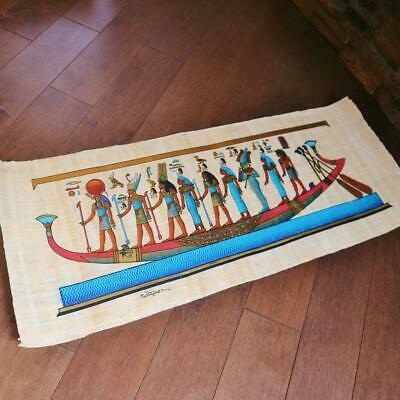 "Huge Handmade Papyrus Egyptian Museum Goddesses on Boat Art Painting_32x12"" Inch"