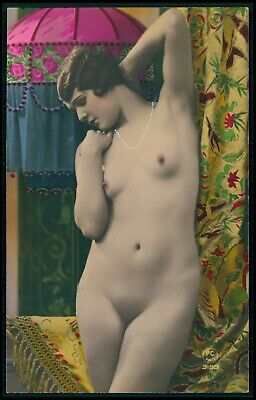 French full nude woman Art Deco original old 1920s tinted color photo postcard