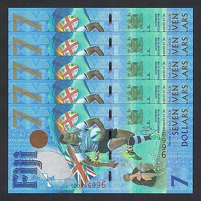 2016 (2017) FIJI 7 DOLLARS P-120 UNC LOT 5 PCS > RUBY 7s GOLD MEDAL WIN COMM NR