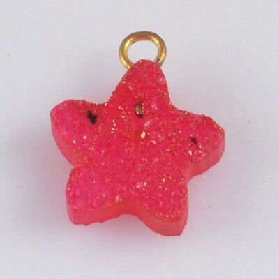 12mm Star Hot Pink Agate Druzy Geode Charm One Bail H130679