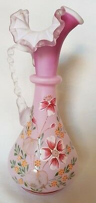 Antique Hand Painted Cranberry Pink Satin Glass Vase