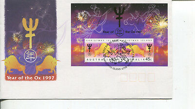(Stamp 1) Australia - Christmas Island (FDC cover + mini sheet) Year of Ox