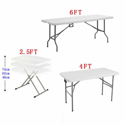Heavy Duty Folding Table Portable Plastic Camping Garden Party Trestle 2.6/4/6FT